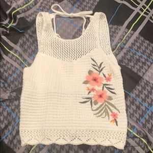 White crochet flower embroidered crop top